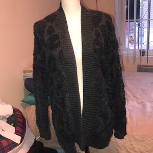 Express black leopard cardigan